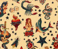 vintage tatto fabric pattern