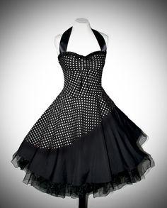 Petticoat Kleid rockabilly 50er Jahre schräg s/w von Rockabillymode 50er Jahre Petticoatkleider Brautkleider auf DaWanda.com