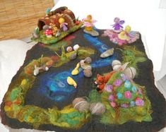 Waldorf Play scape Play mat with a cave river rocks by SooSun