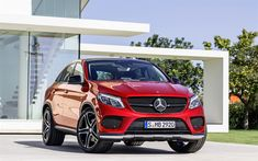 Download wallpapers Mercedes-Benz GLE450 AMG, 4k, 2018, red GLE Coupe, luxury sports SUV, German cars, Mercedes