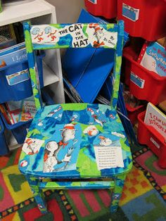 You might have seen this floating around on Pinterest. I posted it on FB & pinned it myself. This was an old chair from a garage sale & you just rip up an old Seuss book, get tissue paper to match & of course some modge podge. I am going to redo my birthday chair using Happy Birthday to Me by Dr. Seuss.