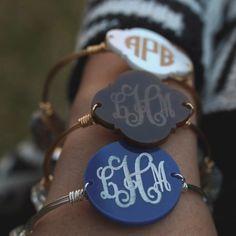 Bangle wire bracelet w/ engraved acrylic monogram / monogrammed bracelet www.SassySouthernGals.com