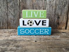 LiVE LOvE SoCceR mini wood stacker block set sport home children family hockey fan sign home decor