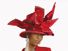 Donna Vinci Hat 1337  [DVH1337]  Twisting Ribbon Bows Rhinestone Embellished Red Hat. Satin Ribbon Fabric.