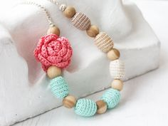 Pink mint nursing necklace with flower Baby shower gift for mom to be New mom Expectant mother Floral jewelry Pastel by 100crochetnecklaces on Etsy https://www.etsy.com/se-en/listing/151880802/pink-mint-nursing-necklace-with-flower