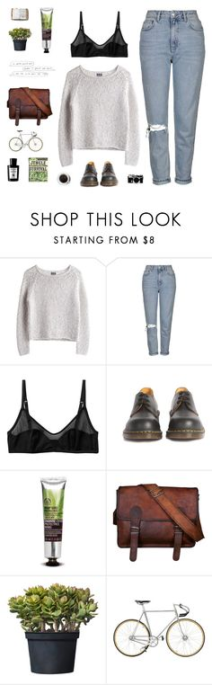 """""""im so god damn tired"""" by smoothpeanutbutter ❤ liked on Polyvore featuring MTWTFSS Weekday, Topshop, Monki, Dr. Martens, The Body Shop, Nikon, Peek and Acqua di Parma"""