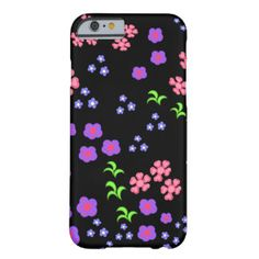 Floral pattern black background barely there iPhone 6 case