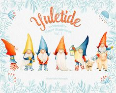 Yuletide Clip art Gnome Christmas clipart by WatercolorNomads