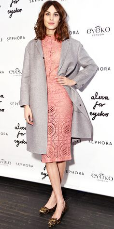 Alexa Chung Is Pretty In Pink Burberry Prorsum coat and dress & Burberry Prorsum Metal Bow Detail Kitten Wedges