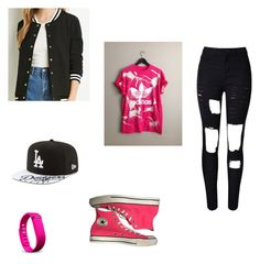 """""""Baseball Game with Got7"""" by seoul-to-soul ❤ liked on Polyvore featuring WithChic, New Era, Converse, adidas and Fitbit"""