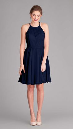 A stunning chiffon bridesmaid dress available in short and long. | Kennedy Blue Sienna & Kylee