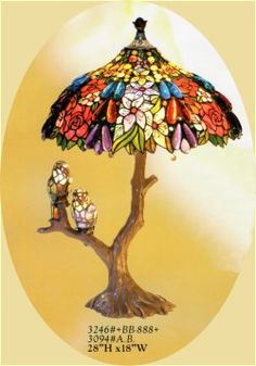 Tiffany style lamp plus adorable birds
