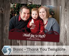 Basic Thank You Card Template - 5x7 and 4x6  Photoshop Templates by SaunterStudios, $8.00
