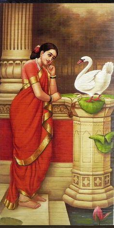Hamsa Damayanti - Raja Ravi Varma Painting (Wall Hanging) (Painting on Woven Bamboo Strands)