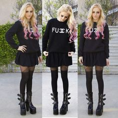 Sheinside Fuck Sweatshirt, Brandy Melville Usa Skirt, Missguided Tights, Demonia Torment Boot