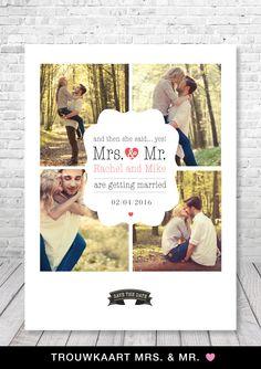Trendy en uniek trouwkaartje van charlyfine.nl #trouwen #bruiloft #trouwkaartjes #design