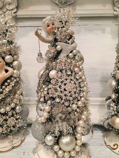 Vintage Mermaid Figurine Rhinestone Christmas Tree Bottle Brush Tree Lefton | eBay