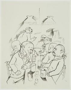 George Grosz(Berlin 1893 - Berlin 1959) ,Gruppenversammlung, 1920-21 Satire, Berlin, Van, Artists, Fine Art, Black And White, Drawings, Painting, Inspiration