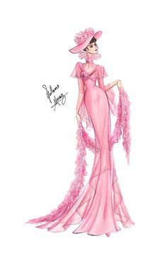 Audrey Hepburn in My Fair Lady - Pink Gown by frozen-winter-prince