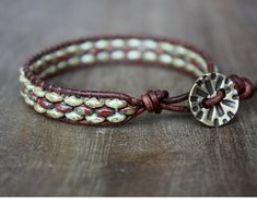 Red and Green Beaded Leather Wrap Bracelet by lamaisondefloria $20