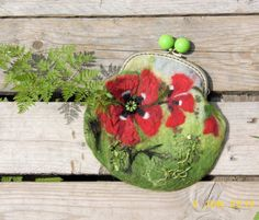 Wet Felted red  Poppies FLOWER coin purse Ready to ★by MSbluesky, $56.00