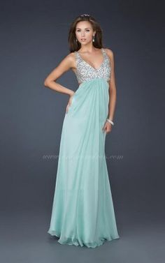 Seafoam La Femme 17472 Low Cut Back Evening Dress Sale