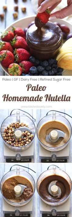 Homemade Paleo Nutella - made with just hazelnuts, cocoa powder and coconut sugar! A much healthier Nutella copycat hazelnut spread that is paleo, dairy free, refined sugar free, gluten free, grain free and clean eating. Paleo Dairy, Gluten Dairy Free, Coconut Sugar, Dairy Free Sauces, Dairy Free Dips, Dairy Free Recipes, Gluten Free Desserts, Whole Food Recipes, Cooking Recipes