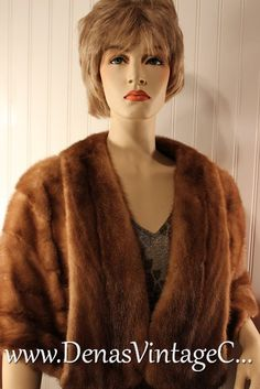 50s Vintage Dark Blonde Mink Stole Wrap by DenasVintageCloset