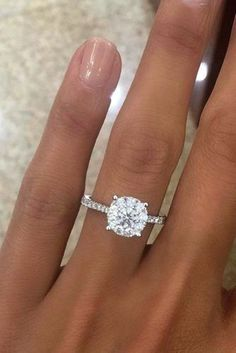 round engagement rings best simple diamond ring pave band #weddingring