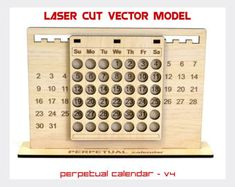 Perpetual calendar, Calendar laser cut vector model, Perpetual calendar project, Wood calendar, Perpetual calendar-v4