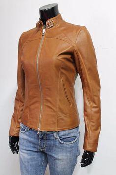 New Ladies Tan Feminine Jacket Italian Real Lambskin Leather Casual Style Design