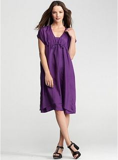 V-Neck Dress with Dipped Hem in Silk Habutai
