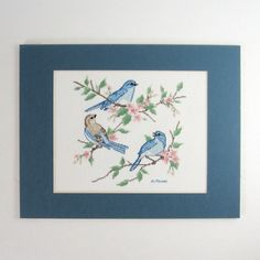 Vintage Embroidery Art - Blue Birds & Cherry Blossoms - Counted Cross Stitch - Blue and White Wall Decor - Ready to Frame Art - Pink Flowers by LastCentury on Etsy https://www.etsy.com/listing/205695187/vintage-embroidery-art-blue-birds-cherry