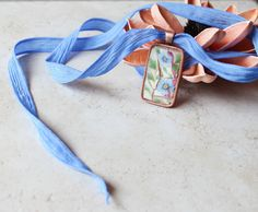 Entwined Hand Dyed Silk Ribbon Mosaic Art by MosaicPendants, $40.00