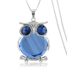 Trendy Owl Necklace Female Fashion Rhinestone Crystal Jewelry Statement Women Necklace Silver Chain Long Necklaces & Pendants