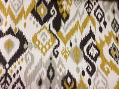 Black and Yellow Ikat Fabric  Suitable for Upholstery, Drapery, and Bedding. Click the picture for more information and purchasing opportunities!
