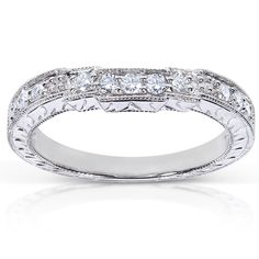 Annello 14k White Gold 1/4ct TDW Diamond Curved Wedding Band (G-H, I1-I2)   Overstock™ Shopping - Big Discounts on Annello Women's Wedding Bands