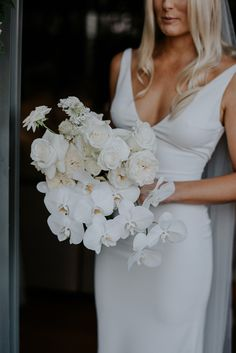 How To Select Little One Dresses Emma and Jasons Palm Beach Wedding Hello May White Orchid Bouquet, Orchid Bouquet Wedding, Beach Wedding Bouquets, Palm Beach Wedding, Bridal Flowers, Bridesmaid Bouquet, Floral Wedding, Wedding Dresses, Beach Weddings