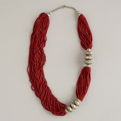 Red Bead and Silver Ball Multi-strand Necklace