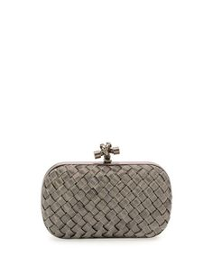 Metal Intrecciato Knot Frame Clutch Bag, Silvertone Pandora Bag, Work Tote,  Bago, 81dcd5bc68