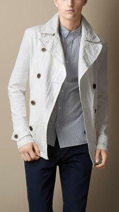 Burberry Brit Seersucker Ripstop Pea Coat Will definitely need this next winter