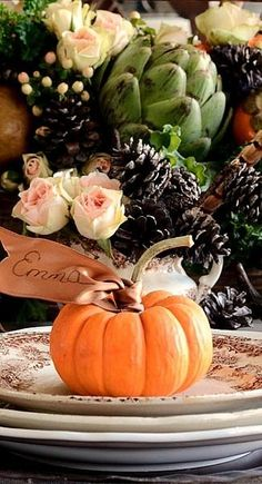 Beautiful Fall or Thanksgiving Name Placement Holder. Thanksgiving Diy, Thanksgiving Traditions, Thanksgiving Table Settings, Thanksgiving Centerpieces, Thanksgiving Flowers, Vegetarian Thanksgiving, Thanksgiving Leftovers, Fruits Decoration, Decoration Table