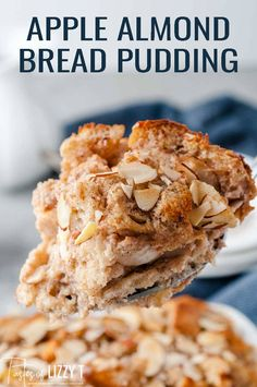 Almond apple bread pudding topped with thin sliced almonds is the perfect weekend brunch recipe if you're craving something sweet and filling. Best Apple Recipes, Bread Pudding With Apples, Apple Desserts, Sliced Almonds, Something Sweet, Brunch Recipes, Cravings, Deserts, Dishes
