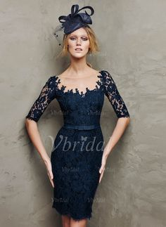 Evening Dresses - $138.00 - Sheath/Column Scoop Neck Knee-Length Tulle Lace Evening Dress With Bow(s) (0175059098)