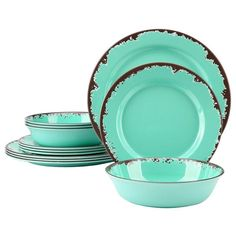 Country Kitchen Rustic Melamine 12-pcs Dinnerware Shatterproof- Green or Blue