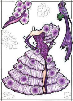 CARMEN MIRANDA Paper Doll is a one-of-a-kind hand-drawn set made by David Zurlin as a raffle prize for the 1991 National Paper Doll Convention in Los Angeles 3 of 7