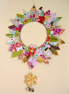 Lovely holiday wreath created using our Snow Day Collection. #cratepaper Check out the tutorial on our blog