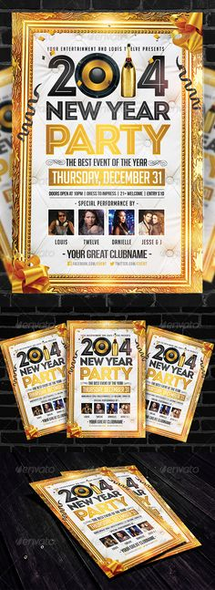 Golden New Year | Flyer Template  #GraphicRiver         A simple, clean, golden and elegant design for promote your New Year Event.   1 PSD File | CMYK Color | 300 DPI | Print Ready | SUPER EASY to EDIT and Layers Well Organized in folders.   Fonts Used:  Bebas Neue:  .dafont /bebas-neue.font  Intro Inline: fontfabric /intro-free-font/  Big Noodle Titling:  .dafont /bignoodle-titling.font   No Need Model    [If you need help, please write me to: louistwelve@gmail  I'm at your service]…