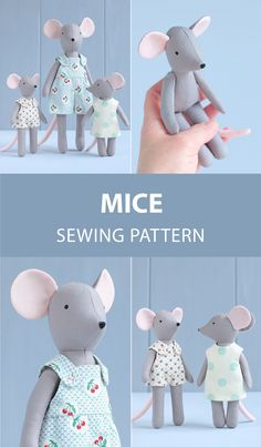 2 PDF: Mouse + Two Mini Mice Sewing Pattern & Tutorial — DIY Animal Stuffed Doll, Soft Toy, Dress up Doll, Mouse Doll with Outfit – Sewing Projects Handmade Dolls Patterns, Primitive Doll Patterns, Knitted Doll Patterns, Doll Patterns Free, Doll Sewing Patterns, Sewing Dolls, Knitted Dolls, Handmade Toys, Fabric Doll Pattern