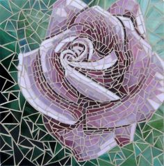 Pink Rose Glass Mosaic by WaveOfColorMosaics on Etsy, $395.00